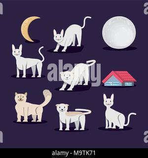 Groupe de chats vecteur caractères illustration design