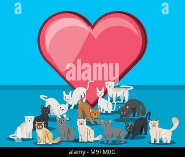 Groupe de chats avec coeur vecteur caractères illustration design