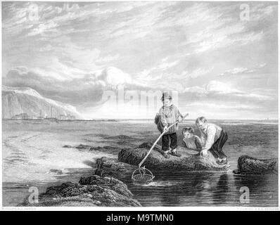 La gravure intitulée Les pêcheurs de crevettes à partir de la photo de William Collins dans la galerie Vernon numérisées à haute résolution à partir d'un livre imprimé en 1849. Banque D'Images