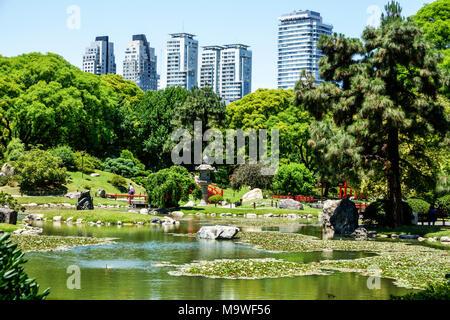 Argentine, Buenos Aires, Recoleta, jardin japonais, jardin japonais, botanique, lac de carpe, arbres, horizon, visite touristique les visiteurs voyage à