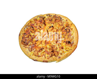 Pizza close up isolated over white background. Vue d'en haut. Banque D'Images