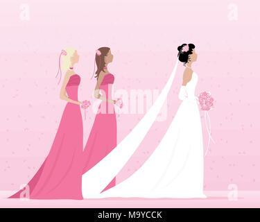 Un vecteur illustration au format eps d'une belle épouse habillé en robe blanche et voile marcher avec deux demoiselles en rose avec des petits woosh Banque D'Images