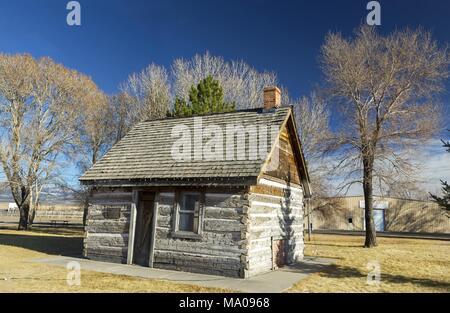 Old Wild West Log Cabin en Mormon Pioneer Heritage Park, près de Ville de Panguitch, Utah dans le sud-ouest de l'USA Banque D'Images
