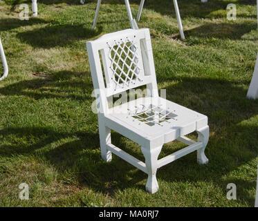Les 185 chaises vides memorial, se rappelant les victimes du séisme de Christchurch, Christchurch, Nouvelle-Zélande Banque D'Images