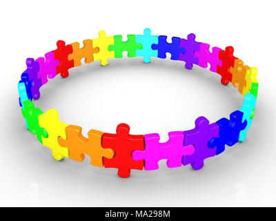 Pièces de puzzle 3D sont connectées et forment un cercle Banque D'Images