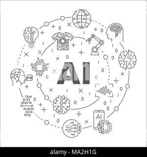 Ligne ronde ia illustration. Symbole circulaire vectorielle faite avec des mots de l'intelligence artificielle et de la technologie d'icônes Banque D'Images