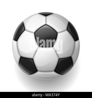 Ballon de soccer sur fond blanc. Sports Football illustration Banque D'Images