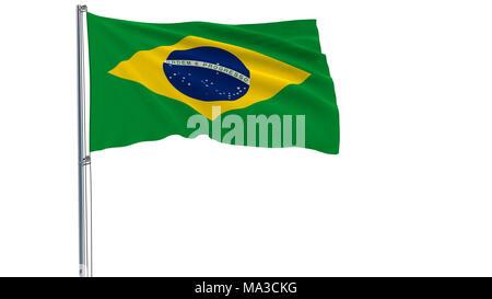 Isoler le drapeau du Brésil sur un mât voltigeant dans le vent sur un fond blanc, 3D Rendering Banque D'Images