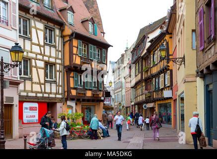 Maisons à colombages historique, Colmar, Alsace, France, Europe Banque D'Images