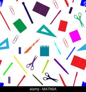 Retour à l'école modèle transparent dessiné à la main avec des fournitures scolaires, des livres et de la papeterie. Ligne, polygone, scissor, portable, stylo, crayon, gomme, pinceau cl Banque D'Images