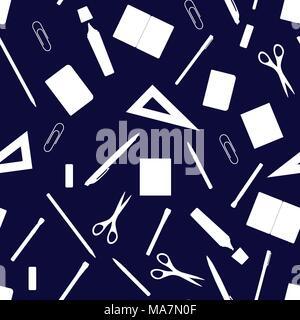 Retour à l'école modèle transparent dessiné à la main avec des fournitures scolaires, des livres et de la papeterie. Ligne, polygone, scissor, portable, stylo, crayon, gomme, marqueur, Banque D'Images