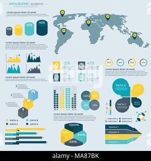 L'infographie Collection d'éléments - vector illustration pour présentation, brochure, site web, blog, flux de mise en page, brochure, bannière, carte, ste Banque D'Images