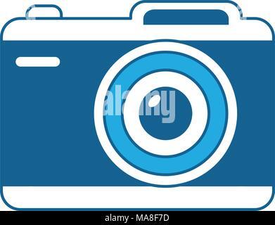 L'icône de caméra photographique sur fond blanc, bleu, conception d'ombrage vector illustration Banque D'Images