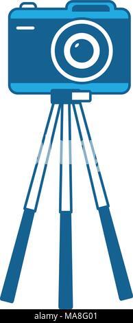 Appareil photographique sur trépied icône sur fond blanc, bleu l'ombrage design. vector illustration Banque D'Images