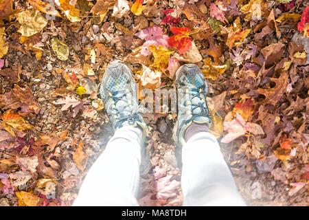 Nombreux agents orange brun automne feuilles dorées sur un sol de pieds chaussures femmes télévision jeter haut Vue vers le bas dans le Harper's Ferry, West Virginia Banque D'Images