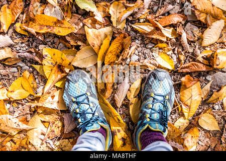 Chaussures, orange brun automne tombé beaucoup de feuilles d'or sur le sol avec les pieds à plat femme jeter haut Vue vers le bas dans la région de Harper's Ferry, West Virginia Banque D'Images