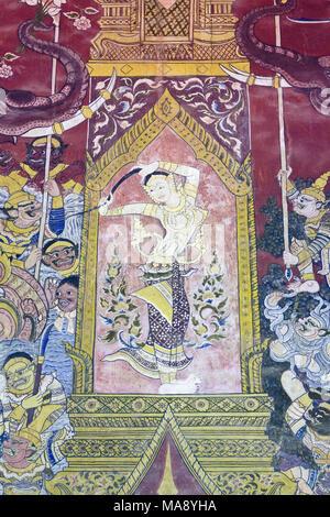 Les murales représentant des scènes de l'épopée Ramakien, Wat Mahathat, Phetchaburi, Thailand Banque D'Images