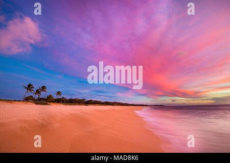 Un idéal au coucher du soleil le deux mille de long, trois cents pieds de largeur, Papohaku Beach sur la rive ouest de Molokai. C'est la plus longue plage de sable blanc de th Banque D'Images