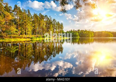 Magnifique coucher de soleil sur le lac de la forêt Banque D'Images