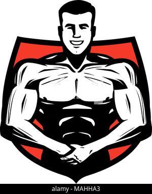 Sport, sport ou l'étiquette. Muscles Bodybuilder vector illustration Banque D'Images