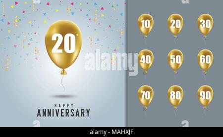 Ensemble d'heureux anniversaire. Ballon d'or avec anniversaire célébration Contexte. Modèle de conception de brochure, dépliant, brochure, magazine Banque D'Images