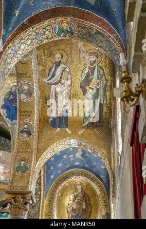 Les mosaïques dorées de la cathédrale de Monreale à Palerme, Sicile, Italie. Les mosaïques byzantines ont été faites avec environ