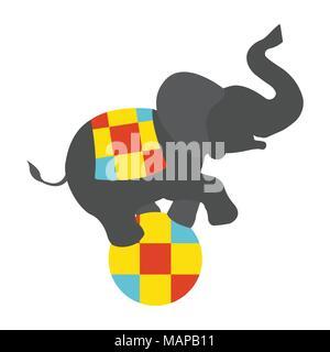 Éléphant de cirque sur l'icône de balle. Vintage Vector illustration.
