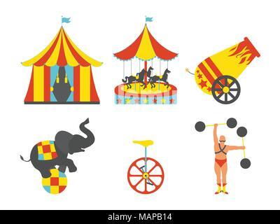 Ensemble de l'icône du cirque. Vintage clip art set. Vector illustration.