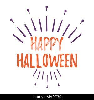 Happy Halloween Carte de souhaits avec texte calligraphié. Affiches et de bannières d'Halloween sur fond blanc. Vector illustration. Banque D'Images