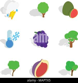 Lieu écologique icons set, style isométrique