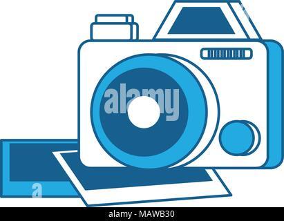 Appareil photographique sur fond blanc, bleu l'ombrage design. vector illustration Banque D'Images