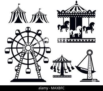 Silhouette noire. Ensemble de cirque carnaval d'icônes. Collection du parc d'attractions. Tente, carrousel, grande roue, bateau pirate. Cartoon style design. Mauvais vecteur
