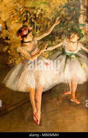 La peinture intitulée deux danseurs sur une scène par Edgar Degas datée 1874