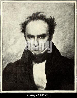 Illustration noir et blanc représentant un portrait (portrait) de l'homme politique américain Daniel Webster, qui représentait à la fois du New Hampshire et du Massachusetts, illustré à partir de l'avant, avec un air sérieux sur son visage et un front dégarni, vêtu d'un col haut, veste sombre, et cravat, titré 'Daniel Webster en 1835, l'âge de 53 ans, peint par Francis Alexander, le volume de '''McClure magazine' écrit par Samuel (SS) Sidney McClure, 1893. Avec la permission de Internet Archive. () Banque D'Images