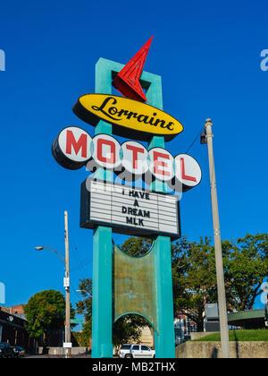 Memphis, TN: Signe, Lorraine Motel. Le Dr Martin Luther King, Jr. a été assassiné sur un deuxième étage balcon du Lorraine Motel sur Avril 4, 1968.