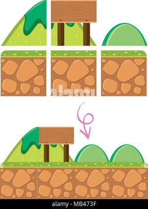 Un modèle de jeu Scène de montagne illustration Banque D'Images