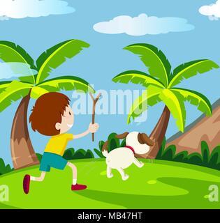 Happy Kid et illustration chien Banque D'Images