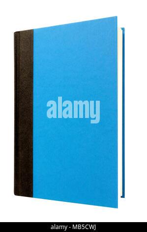 Light blue livre relié couverture verticale verticale isolated on white Banque D'Images