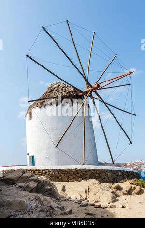 Moulins à vent emblématique, Mykonos, Grèce Banque D'Images