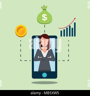 Smartphone avec business woman on financial bank d'affichage Banque D'Images