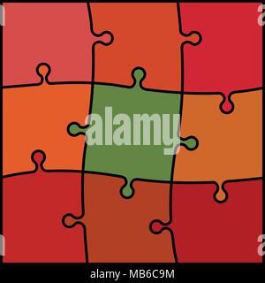 Résumé Contexte - puzzle de couleur rouge, orange et vert Banque D'Images
