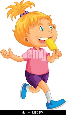 Little girl eating illustration popsicle Banque D'Images