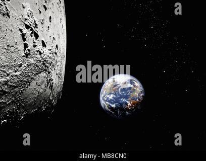 Planète Terre de l'espace de la surface de la lune en premier plan, en Amérique du Nord et de l'Europe visible Banque D'Images