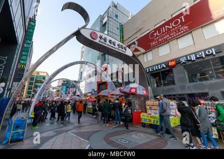 Busan, Corée du Sud - Mars 24, 2018: Busan International Film Festival (BIFF) Square à Nampo-dong, Jung-gu Banque D'Images