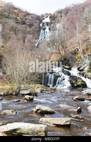 Chute d'Rhiwargor dans Powys, Pays de Galles, au-dessus du lac Vyrnwy Banque D'Images