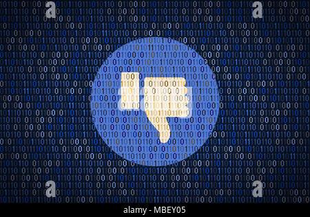 GALATI, Roumanie - 10 avril 2018: Facebook pouce vers le bas les questions de sécurité et de confidentialité. Cryptage de données concept Banque D'Images
