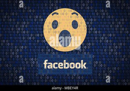 GALATI, Roumanie - 10 avril 2018: Facebook la sécurité des données et de la vie privée. Cryptage de données concept Banque D'Images