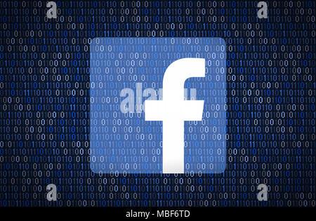 GALATI, Roumanie - 10 avril 2018: Facebook les questions de sécurité et de confidentialité. Cryptage de données concept Banque D'Images