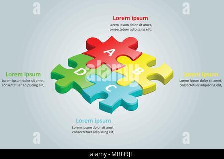 3colorés d groupe de puzzle pour l'idée d'entreprise concept conception graphique Banque D'Images