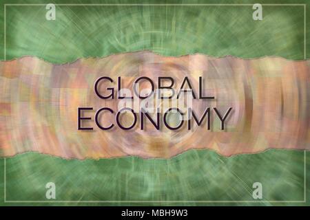Économie mondiale, business, conceptuel avec fond coloré pour page web, conception graphique, papier peint, papier peint ou de catalogue. Banque D'Images